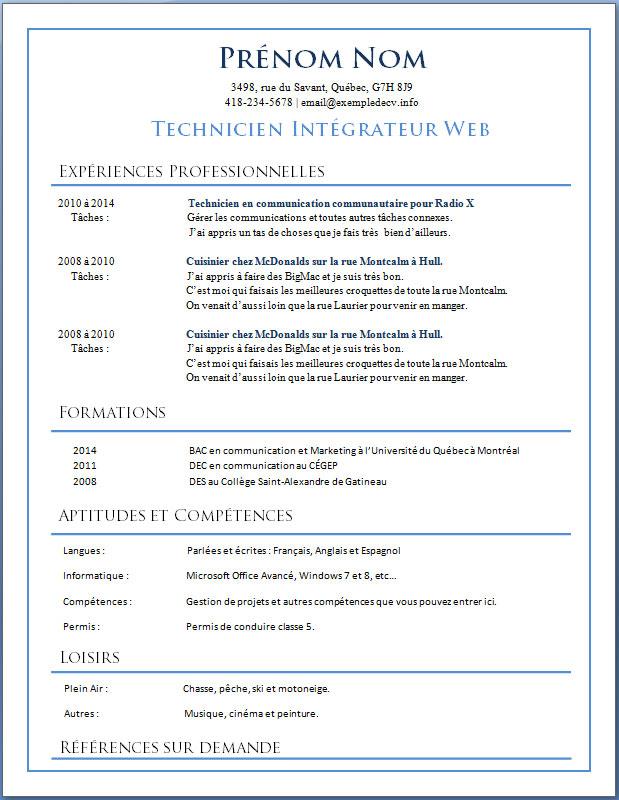 mod u00e8les et exemples de cv  529  u00e0 535  u2013 exemple de cv  info