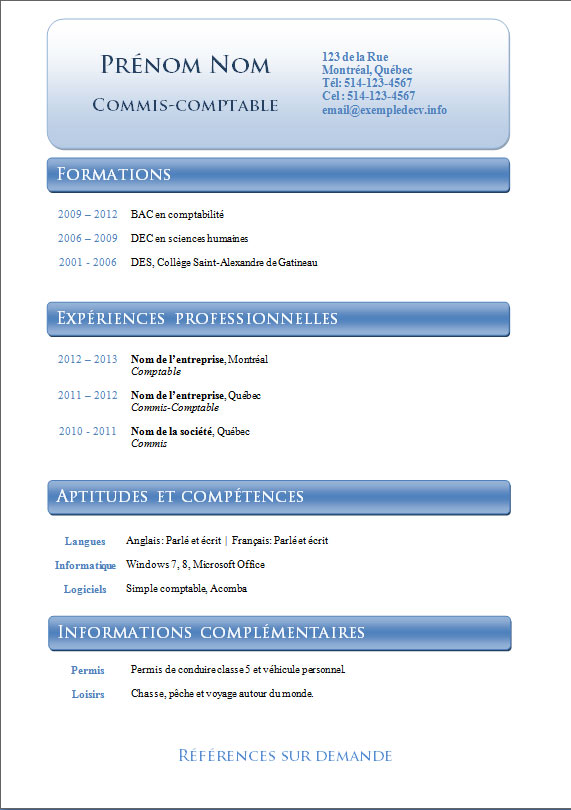mod u00e8les et exemples de cv  796  u00e0 802  u2013 exemple de cv  info