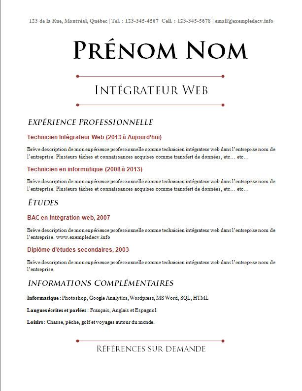 exemple de cv  info  u2013 page 3  u2013 exemples et mod u00e8les gratuits