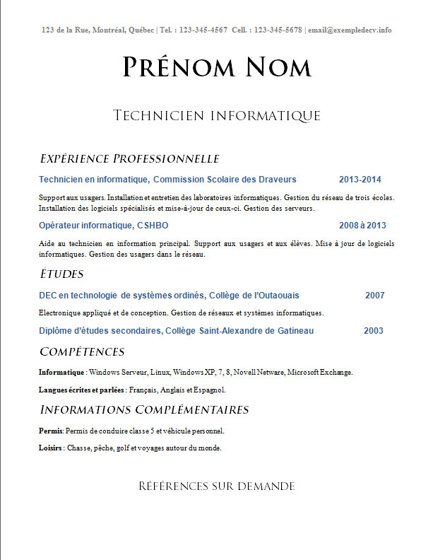 cv technicien informatique  u2013 exemple de cv  info