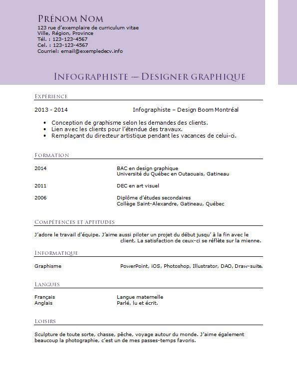 exemple de cv pour un infographiste et designer graphique  u2013 exemple de cv  info