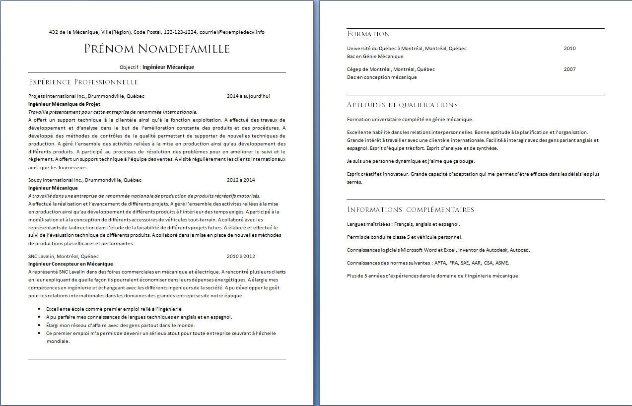curriculum vitae d u2019un ing u00e9nieur m u00e9canique  u2013 exemple de cv  info