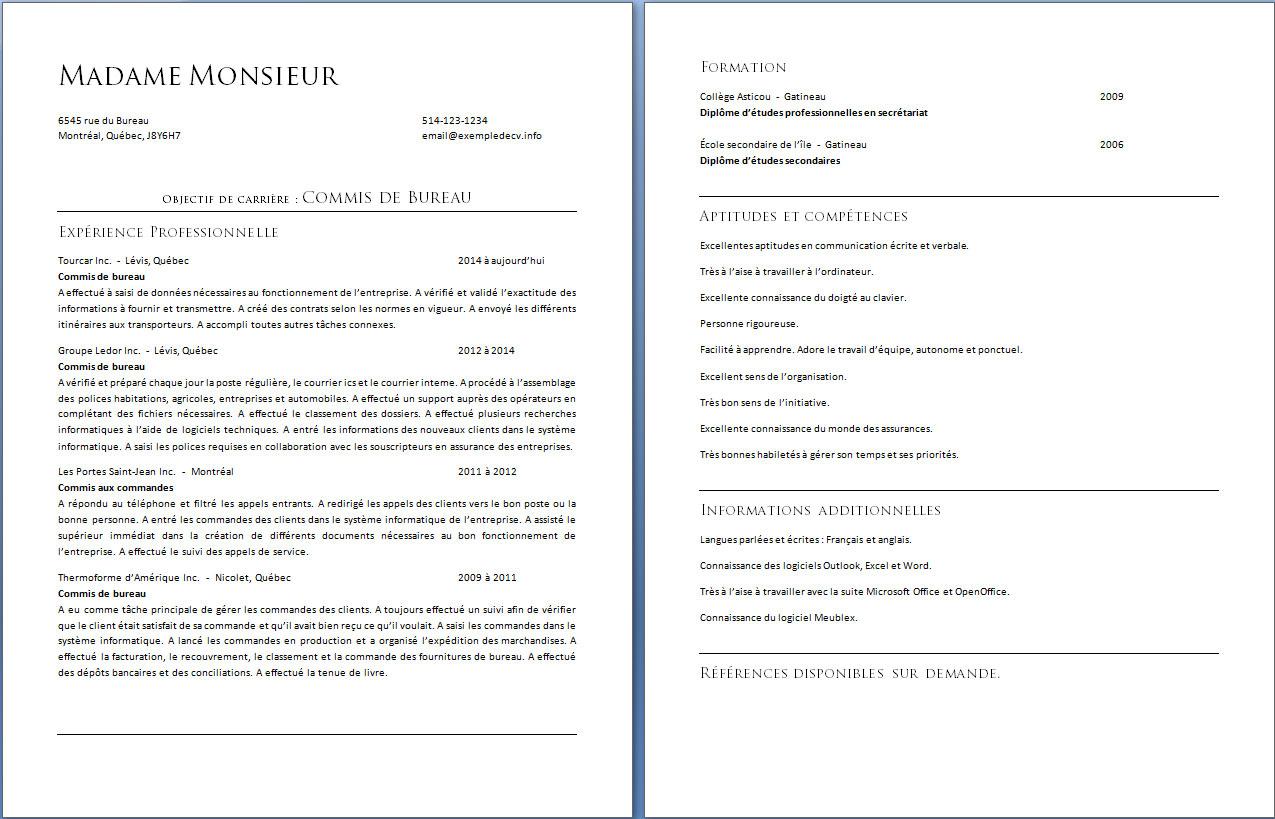 exemple de curriculum vitae d u2019un commis de bureau