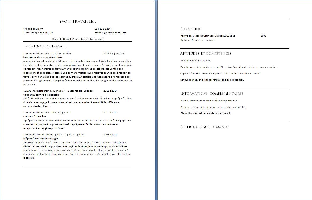 Caissier Exemple De Cv Info