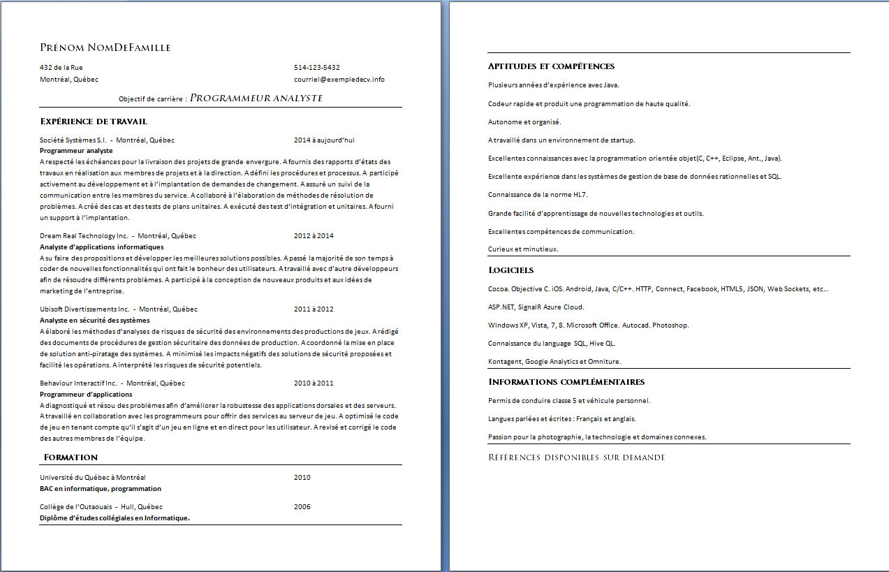 Exemple Cv Informatique Quebec Curriculum Vitae Quebec Canada