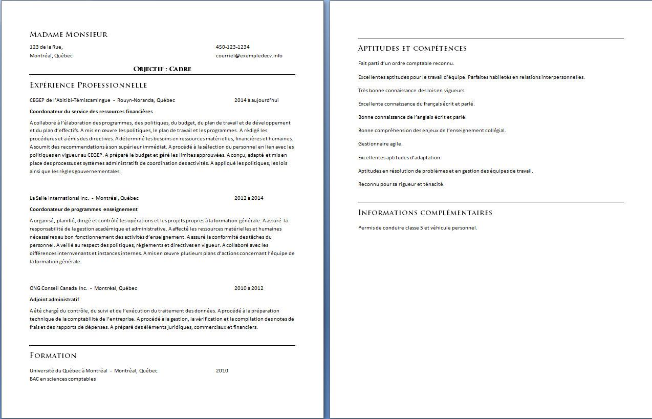 exemple de cv cadre  u2013 exemple de cv  info