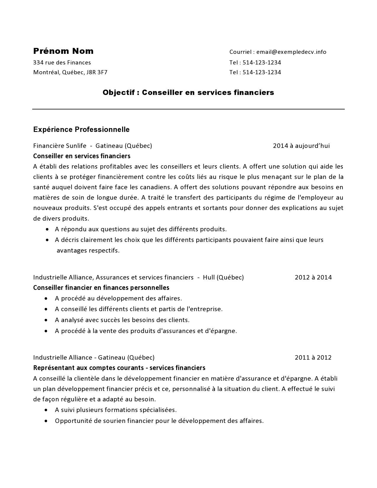 cv d u2019un conseiller en services financiers  u2013 exemple de cv