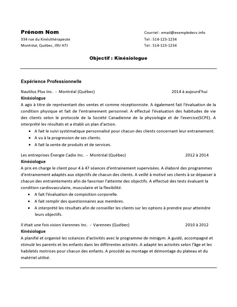 curriculum vitae d u2019un kin u00e9siologue  u2013 exemple de cv  info