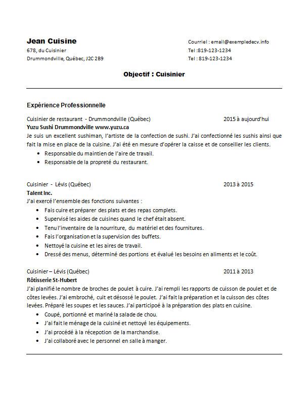 Exemple de cv d une cuisini re ou d un cuisinier exemple de cv info - Commis de cuisine suisse ...