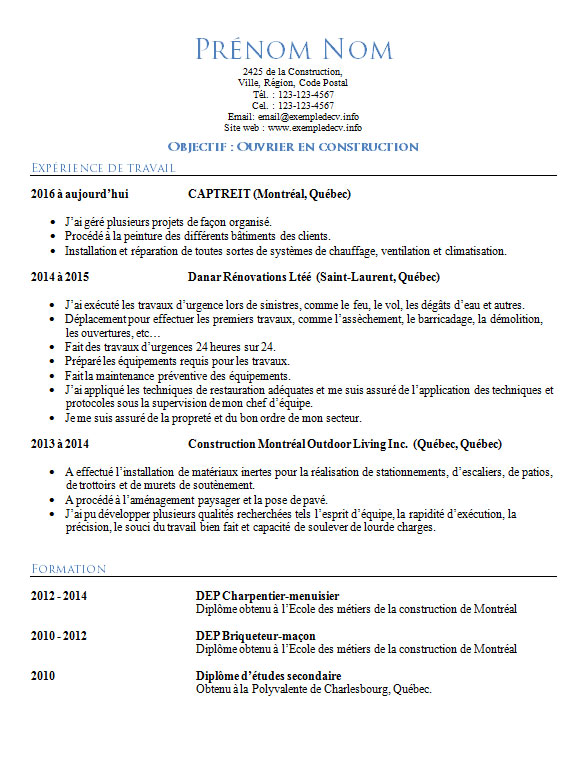 Exemple De Cv Ouvrier De Construction Exemple De Cv Info